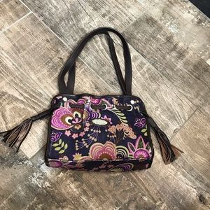 Spartina 449 purse in purple, green and brown